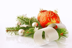 New Year's toys and fur-tree branch Royalty Free Stock Photography