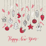 New Year& x27;s toys hand drawn style. Royalty Free Stock Photos
