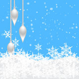 New Year's toys on hangers on a background of falling snow. illustration Royalty Free Stock Images