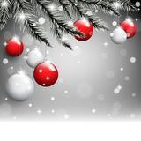 New Year`s toys on the pine tree branches on the christmas postcard background. Vector illustration Royalty Free Stock Image