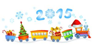New Year's train. Cute Christmas train with a smoke in a look a 2015 Stock Photos