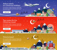 New Year's travel banners in flat style illustration. Traveling by plane, bus and train. stock illustration