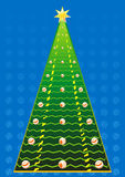 New Year's tree. New Year tree with balls and stars on a white Royalty Free Stock Image