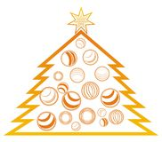 New Year's tree. New Year tree with balls and stars on a white Royalty Free Stock Photography