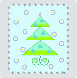 New-Year's tree. Illustration of Christmas trees with balls and snowflaks Stock Illustration