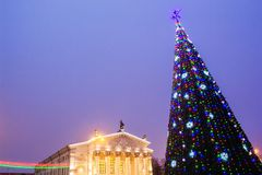 New Year`s tree in the background of the theater stock photos
