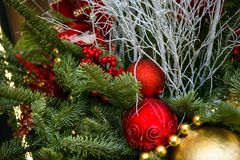 New Year`s tree, decorated with golden and red balls, beads and tinsel. New Year`s tree, decorated with golden and red ball, beads and tinsel Stock Image