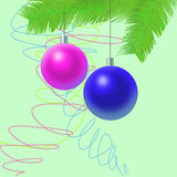 New Year's Tree decoration. Green branch of fur-tree with toys vector illustration