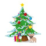 New Year`s tree with gifts and a dog, a symbol of the new year 2018. Vector. New Year tree with gifts and a dog, a symbol of the New Year 2018. Vector Royalty Free Stock Photography