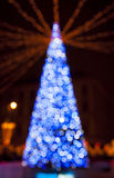 New Year's tree made from bokeh lights royalty free stock photography