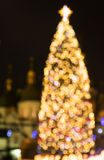 New Year's tree made from bokeh lights Royalty Free Stock Photos