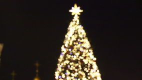New Year's tree made from bokeh lights stock video footage