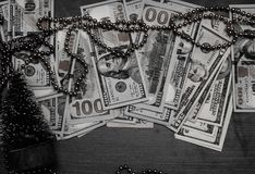 New Year`s tree with notes of American dollars. royalty free stock photos