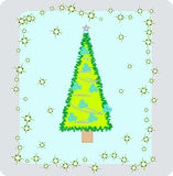 New-Year's tree2. Illustration of Christmas trees with balls and snowflakes Royalty Free Illustration