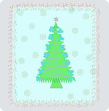 New-Year's tree3. Illustration of Christmas trees with balls and snowflakes Vector Illustration