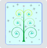 New-Year's tree4. Illustration of Christmas trees with balls and snowflaks Vector Illustration