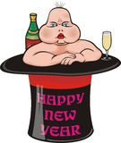 New year`s ugly baby Stock Photos