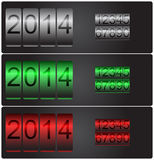 New Year's vector counters with set of numbers. New Year's date. Vector counters with set of numbers silver, red and green Stock Photography