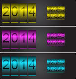 New Year's vector counters with set of numbers. New Year's date. Vector counters with set of numbers yellow, magenta and cyan Royalty Free Stock Photography
