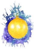 New Year`s yellow ball on a background of purple splashes. Chris royalty free stock image
