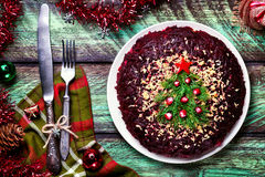 New Year salad with Christmas tree Royalty Free Stock Photography