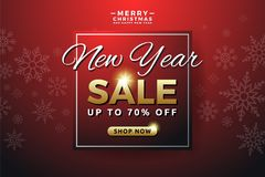 New Year sale background banner template design. With snowflake. Seasonal advertising for Christmas and Happy new year. Vector illustration Stock Photography