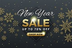 New Year sale background banner template design. With snowflake. Seasonal advertising for Christmas and Happy new year. Vector illustration Stock Photos