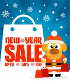 New Year sale background with dog  upto 50% off. Vector illustration Royalty Free Stock Photo