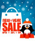 New Year sale background with penguin upto 30% off. Vector illustration Royalty Free Stock Photos