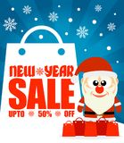 New Year sale background with Santa Claus upto 50% off. Vector illustration Stock Photos