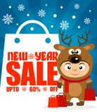 New Year sale background upto 60 % off with child in costume deer. Ew Year sale background upto 60 % off with child in costume deer.Vector illustration stock illustration