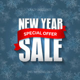 New Year sale badge, label, promo banner template. Special offer Stock Photography