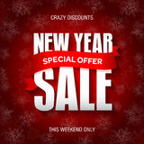 New Year sale badge, label, promo banner template. Special offer Royalty Free Stock Photo