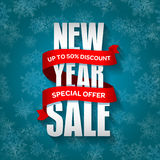 New Year sale badge, label, promo banner template. Special seasonal sale offer. Stock Photography