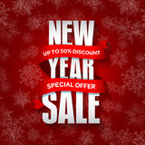 New Year sale badge, label, promo banner template. Special seasonal sale offer. Stock Photos