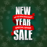 New Year sale badge, label, promo banner template. Special seasonal sale offer. Royalty Free Stock Photo