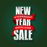 New Year sale badge, label, promo banner template. Special seasonal sale offer. Royalty Free Stock Photos