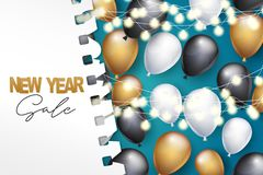 New Year sale banner. Winter holiday celebration design concept with golden, black, and white balloons, garland lights, under torn