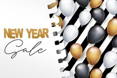 New Year sale banner. Winter holiday celebration design concept with golden, black, and white balloons under torn out sheet of pap