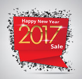 New Year Sale 2017, Creative sale tag or paper banner Stock Photo
