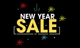 New year sale, discount, promotions. New Year Edition discount poster with additional fireworks icon. with many colors Stock Images