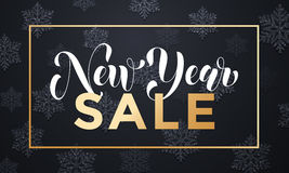 New Year Sale gold frame banner background with snowflakes Royalty Free Stock Image