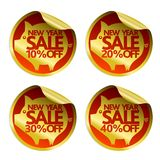New Year sale gold stickers 10,20,30,40 with pig. Vector illustration royalty free illustration