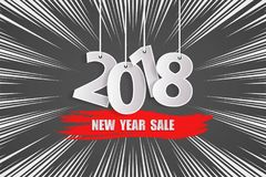 New Year sale 2018 grey and red concept. Vector illustration Royalty Free Stock Image