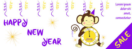 New year sale horizontal banner with cute monkey Stock Photo