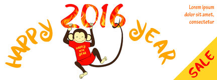 New year sale horizontal banner with cute monkey Stock Photos