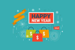 New Year Sale. Illustration of New Year sale label flat design concept with icons elements Stock Images