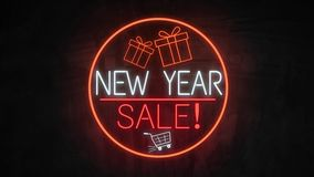 New Year SALE neon light on wall. Sale banner blinking neon sign style for promo video. concept of sale and clearance