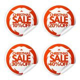 New Year sale stickers 10,20,30,40 with Santa Claus beard. Vector illustration Stock Photos