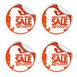 New Year sale stickers 10,20,30,40 with Santa Claus Stock Images